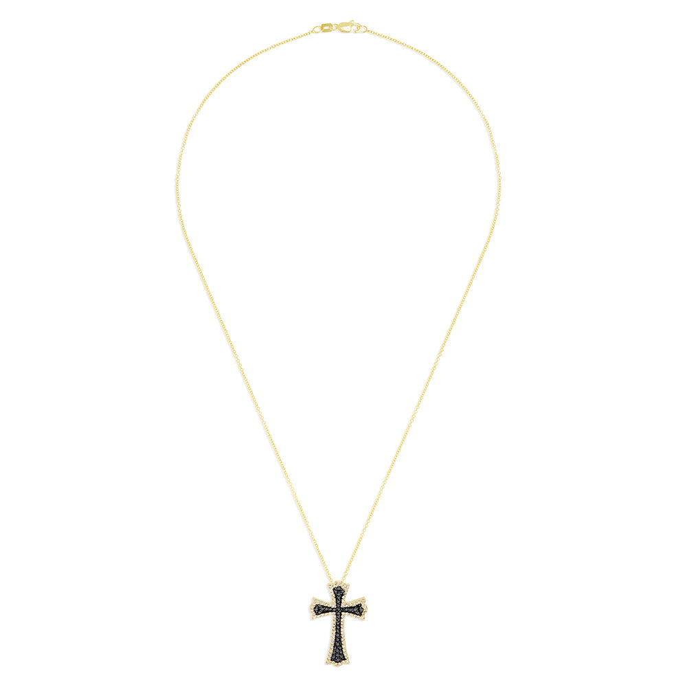 Effy 14K Yellow Gold Black and White Diamond Cross Pendant, 0.46 TCW