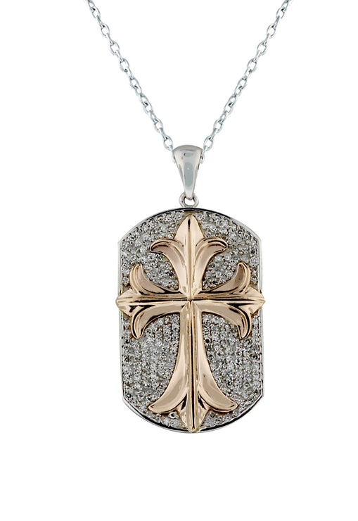 14K White & Rose Gold Diamond Cross Pendant, .74 TCW