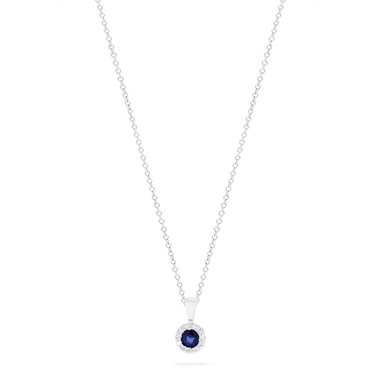 Effy 14K White Gold Blue Sapphire and Diamond Pendant, 0.28 TCW
