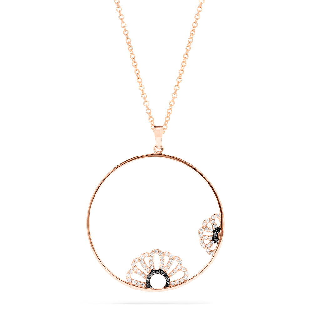 Effy 14K Rose Gold Black and White Diamond Accented Pendant, 0.28 TCW