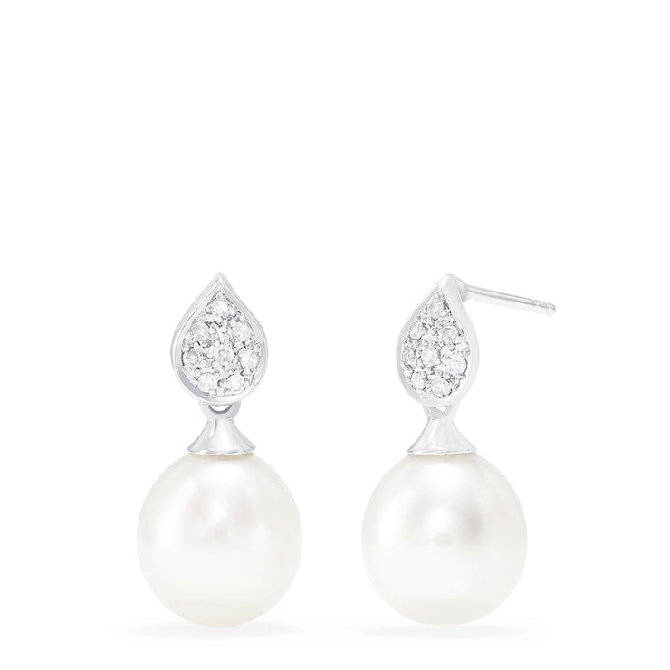 Effy 14K White Gold Cultured Fresh Water Pearl & Diamond Earrings, 0.08 TCW