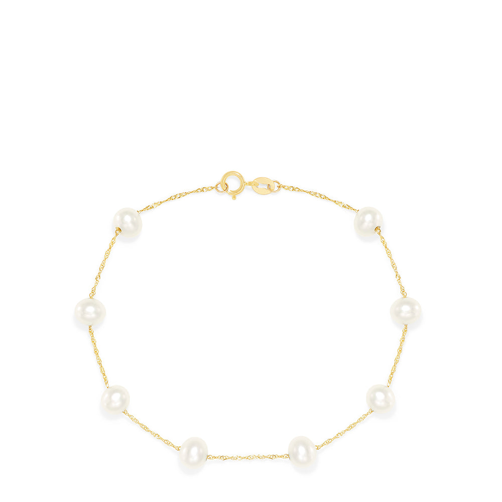 "Effy 14K Yellow Gold Cultured Fresh Water Pearl 7"" Bracelet"