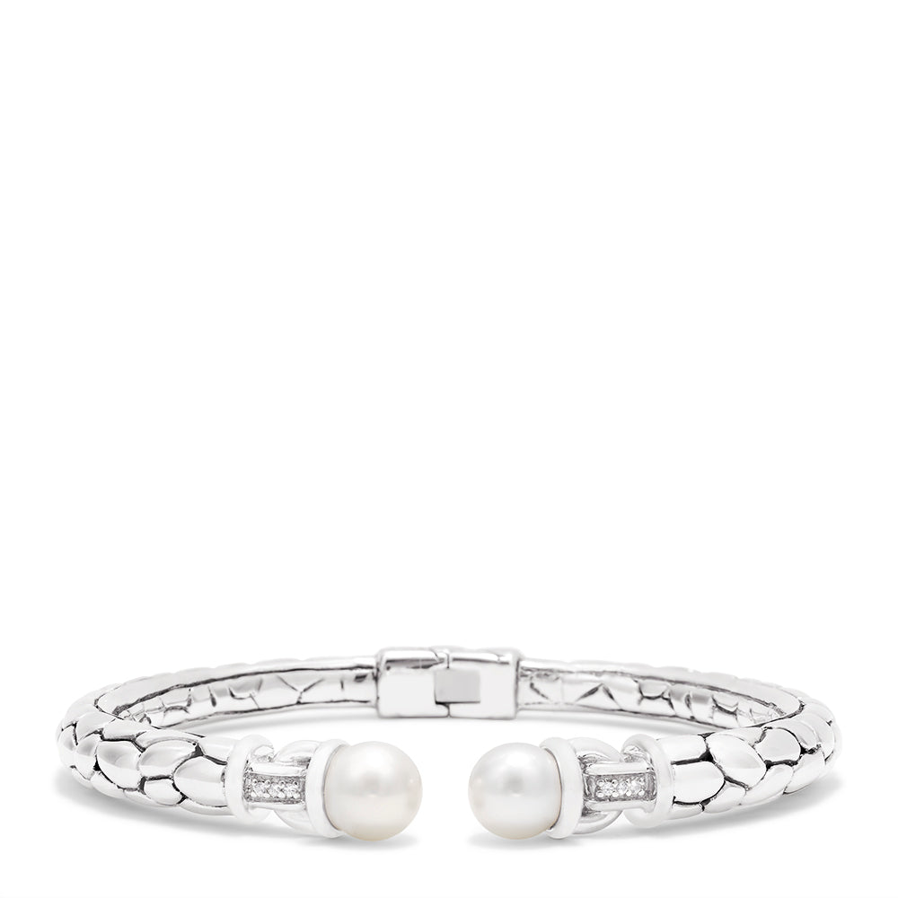 Effy 925 Sterling Silver Cultured Pearl and Diamond Bangle, 0.01 TCW