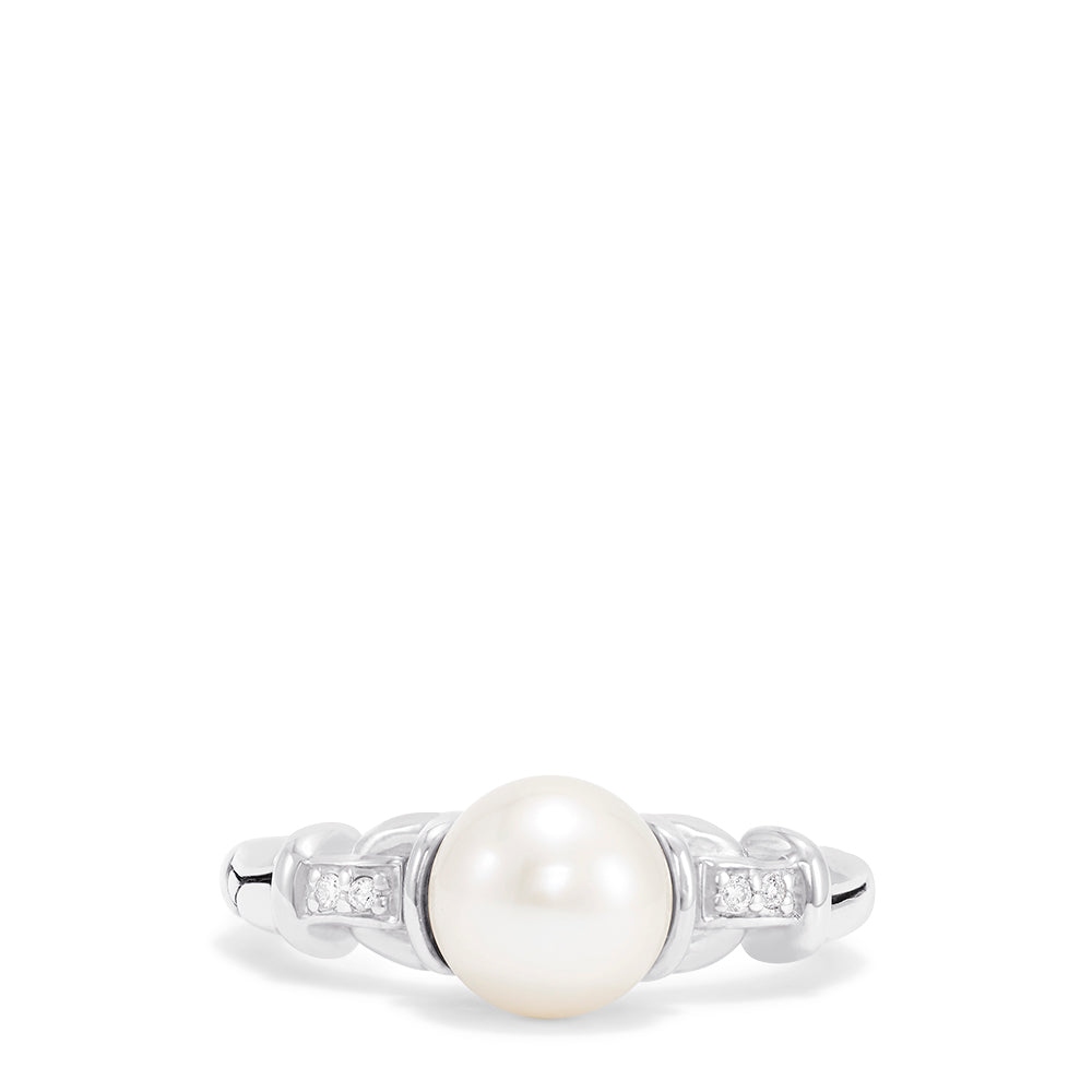 Effy 925 Sterling Silver Cultured Pearl and Diamond Ring, 0.03 TCW