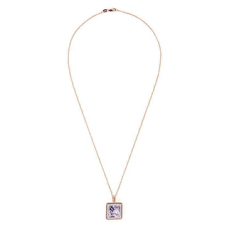 Effy 14K Rose Gold Amethyst and Diamond Square Pendant, 7.10 TCW