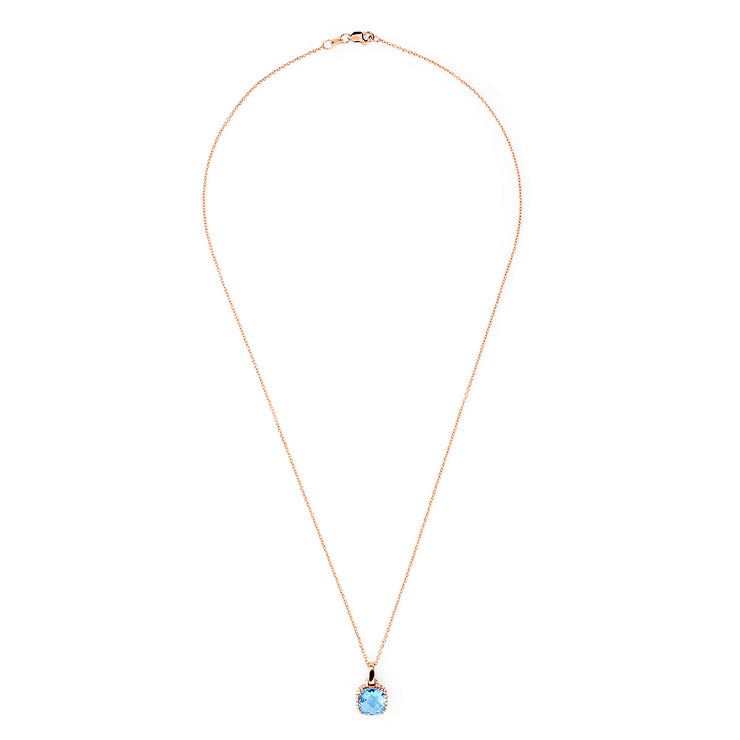 Effy 14K Rose Gold Blue Topaz and Diamond Square Pendant, 3.14 TCW