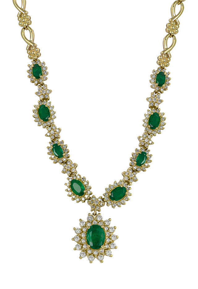 Gemma Yellow Gold Emerald & Diamond Necklace, 5.08 TCW