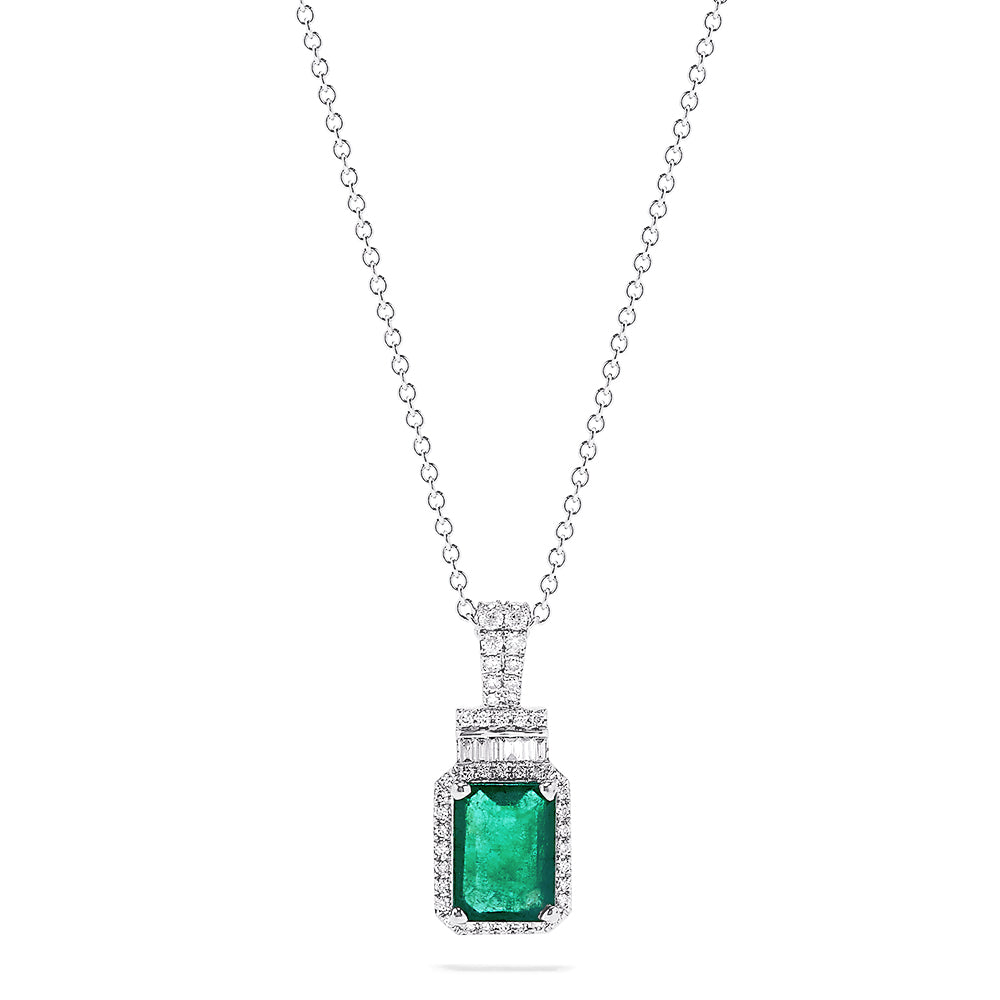 Effy 14K White Gold Emerald and Diamond Pendant, 1.70 TCW
