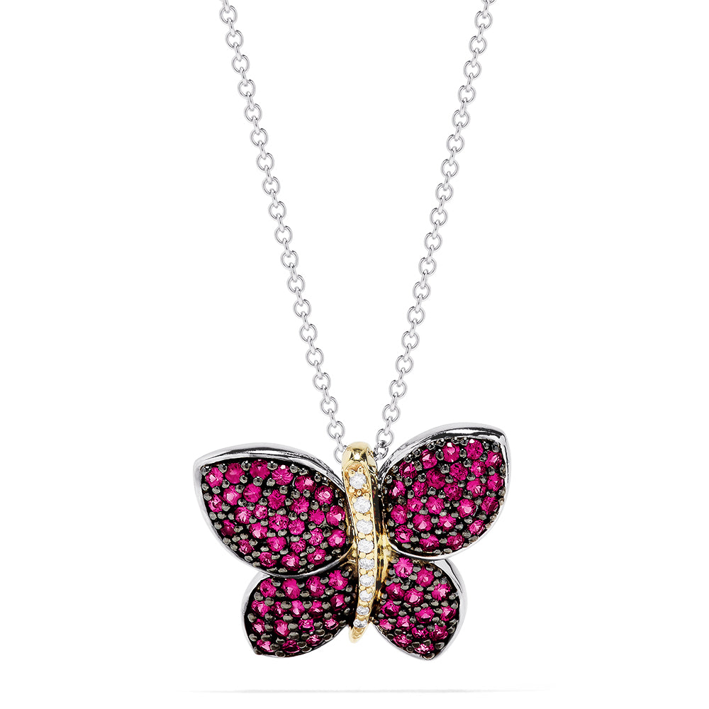 Effy 14K Two Tone Gold Pink Sapphire & Diamond Butterfly Pendant, 2.03 TCW