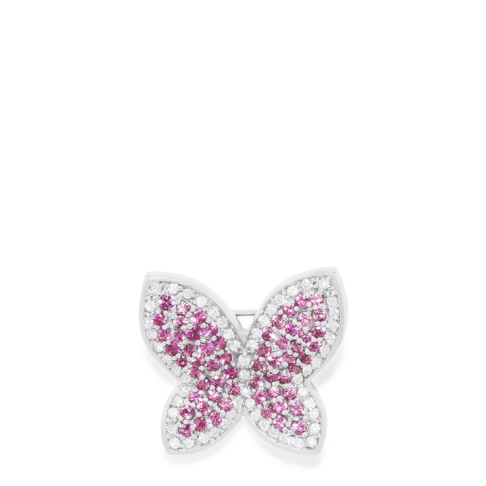 Effy 14K White Gold Pink Sapphire and Diamond Butterfly Pin, 2.30 TCW