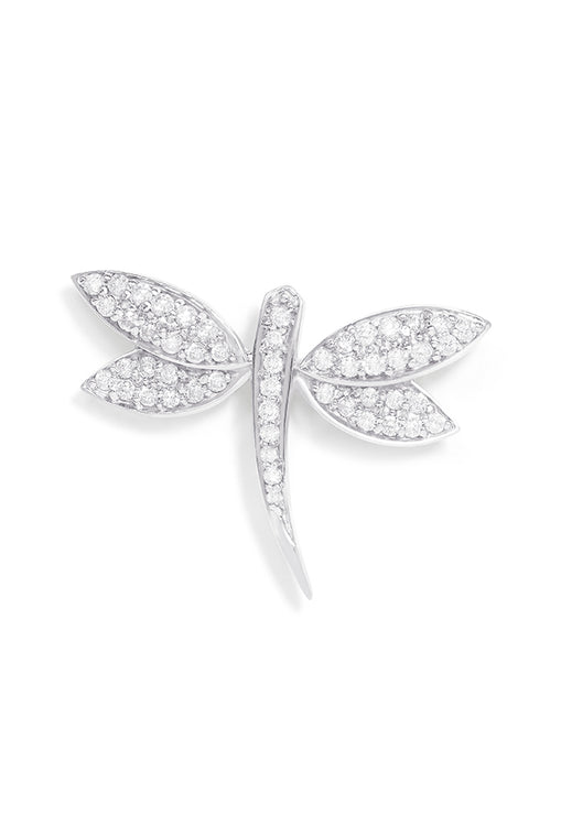 Effy 14K White Gold Diamond Dragon Fly Pin, 0.61 TCW