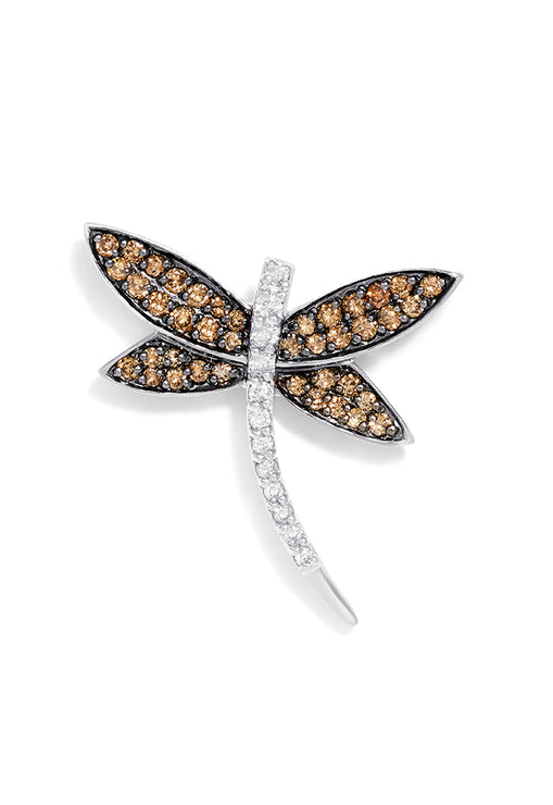Effy 14K White Gold Cognac and White Diamond Dragon Fly Pin, 0.75 TCW