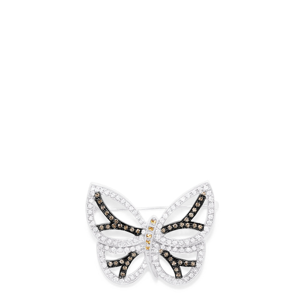 Effy 14K White Gold Yellow Sapphire and Diamond Butterfly Pin, 1.47 TCW
