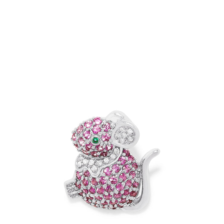 Effy 14K White Gold Pink Sapphire and Diamond Mouse Pin, 2.47 TCW