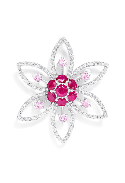Effy 14K White Gold Ruby, Pink Sapphire and Diamond Flower Pin, 3.51 TCW