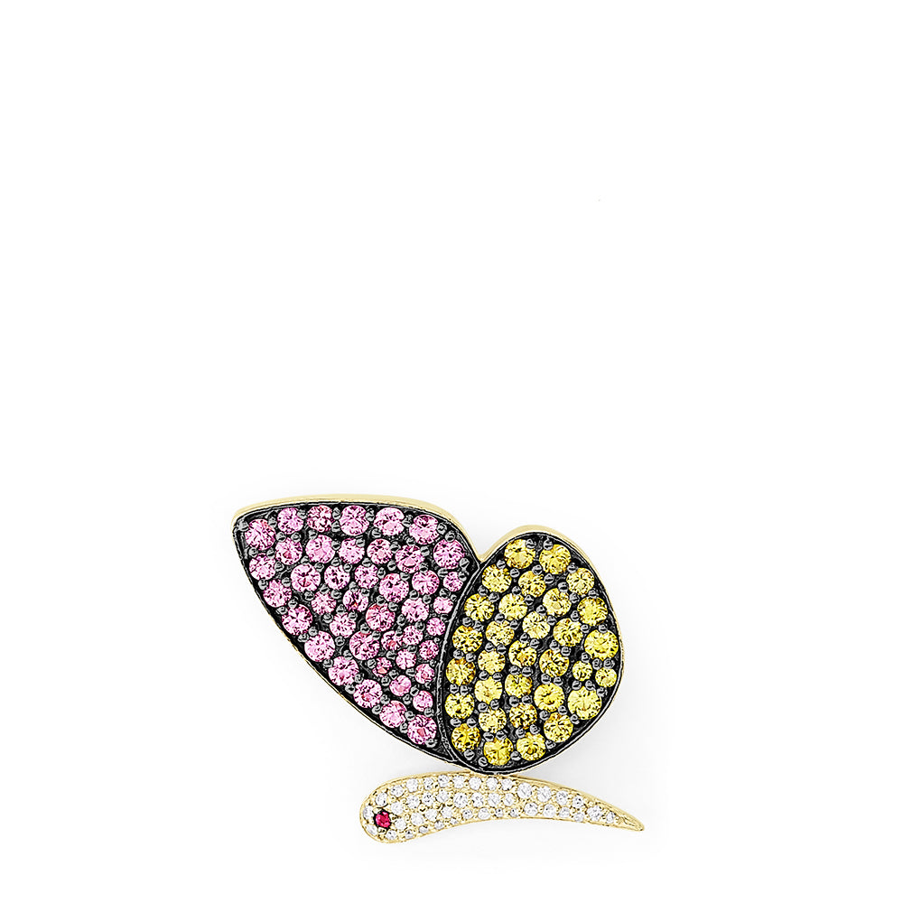 Effy 14K Yellow Gold Multi Gemstone and Diamond Butterfly Pin, 4.43 TCW