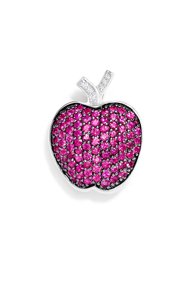 Effy 14K White Gold Pink Sapphire and Diamond Apple Pin, 1.94 TCW