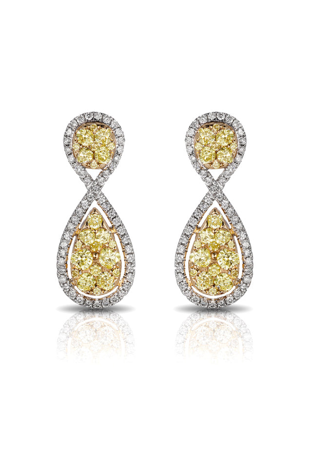 Effy Canare 14K Two-Tone Gold Yellow & White Diamond Earrings, 1.71 TCW
