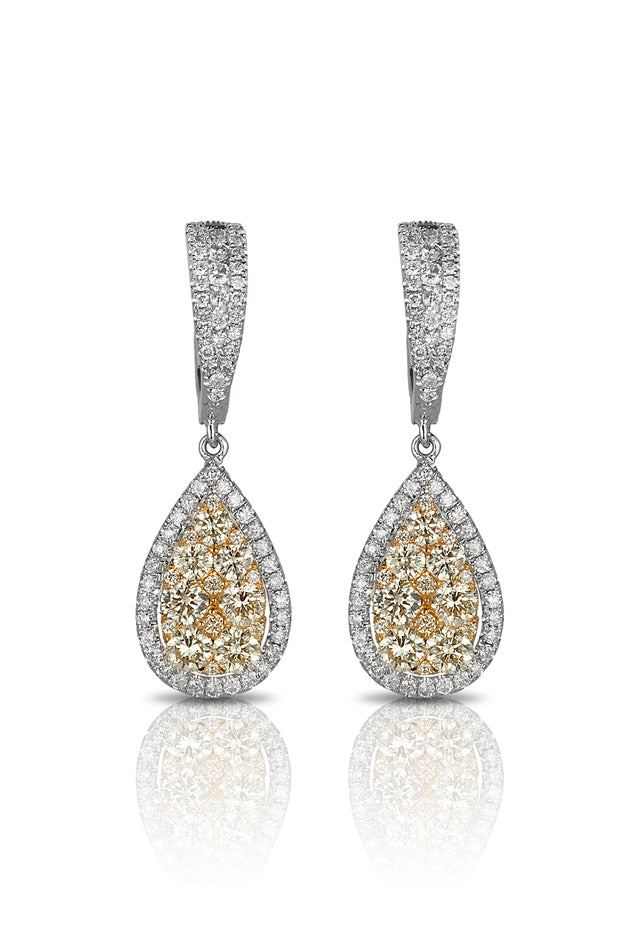 Effy Canare 14K Two-Tone Gold White & Yellow Diamond Earrings, 2.07 TCW