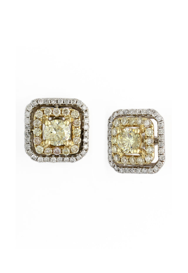 Effy Canare 14K Two-Tone Gold Yellow & White Diamond Earrings, 1.56 TCW