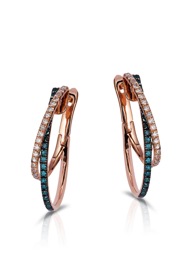 Effy Bella Bleu 14K Rose Gold Blue and White Diamond Earrings, 0.58 TCW