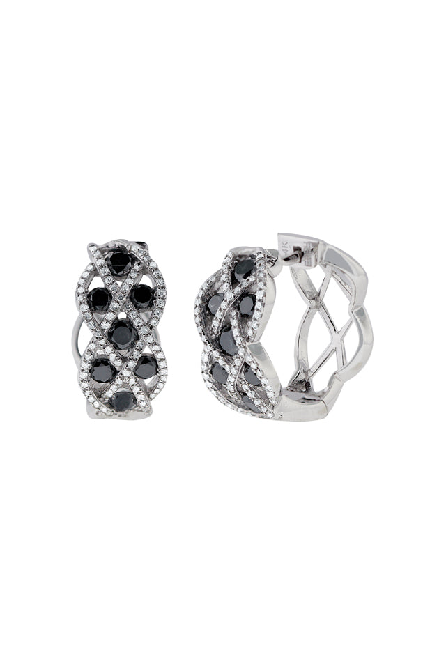 Effy 14K White Gold Black and White Diamond Earrings, 1.57 TCW