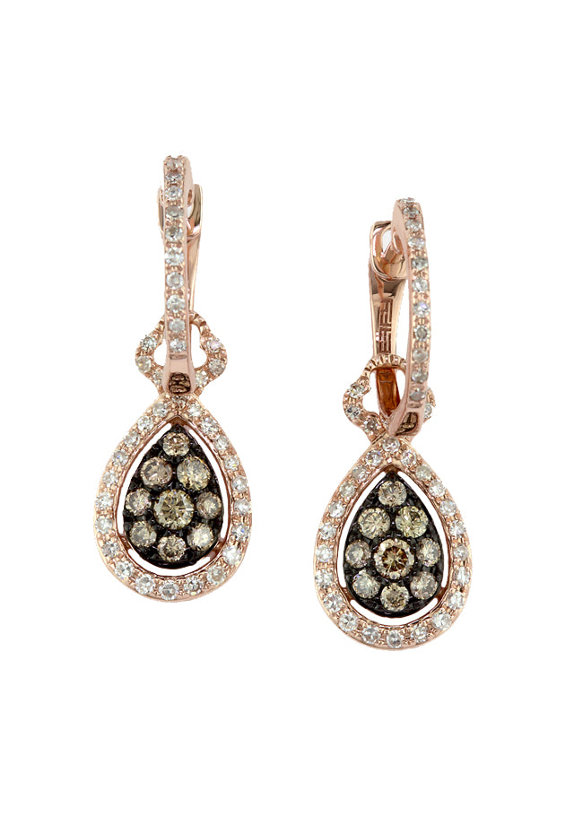 Effy Espresso 14K Rose Gold Cognac and White Diamond Earrings, .64 TCW