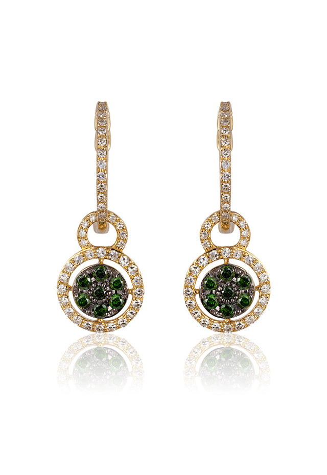 Effy D'Oro 14K Yellow Gold Green and White Diamond Earrings