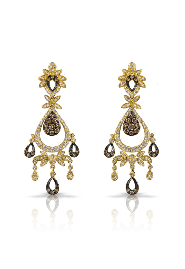 Effy Espresso 14K Yellow Gold Cognac and White Diamond Earrings