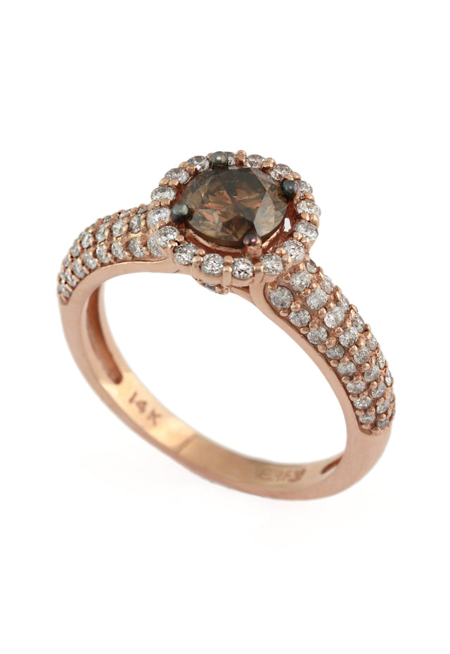 Effy Espresso 14K Rose Gold Cognac and White Diamond Ring, 1.44 TCW