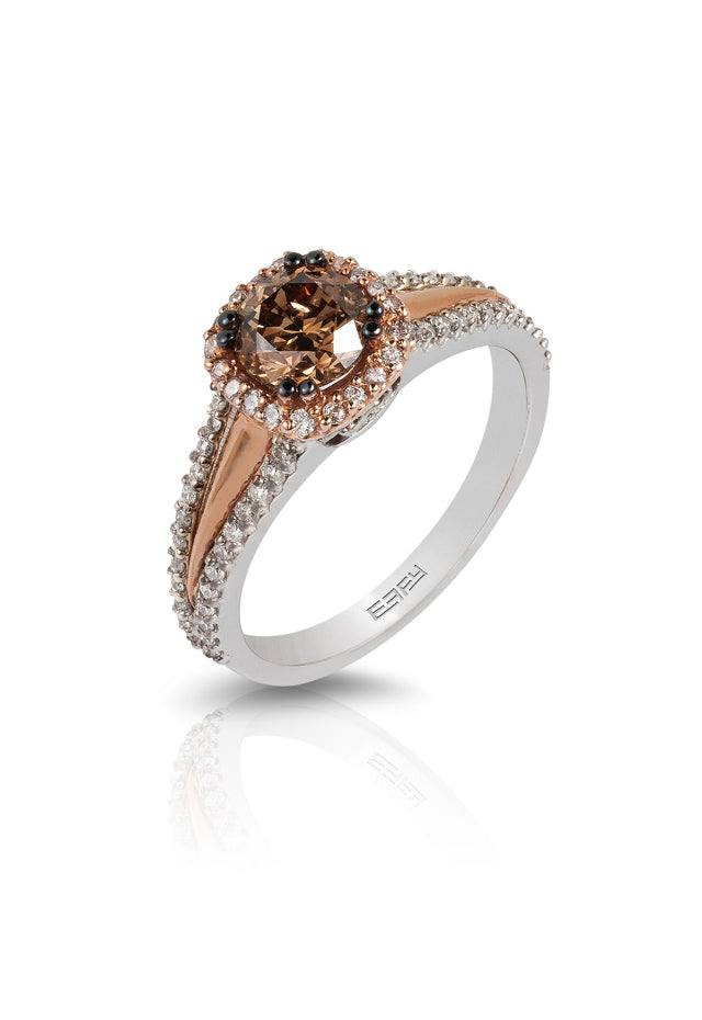 Effy Espresso 14K Rose Gold Cognac & White Diamond Ring, 1.08 TCW