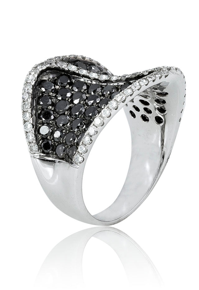 Effy 14K White Gold Black and White Diamond Ring, 3.96 TCW