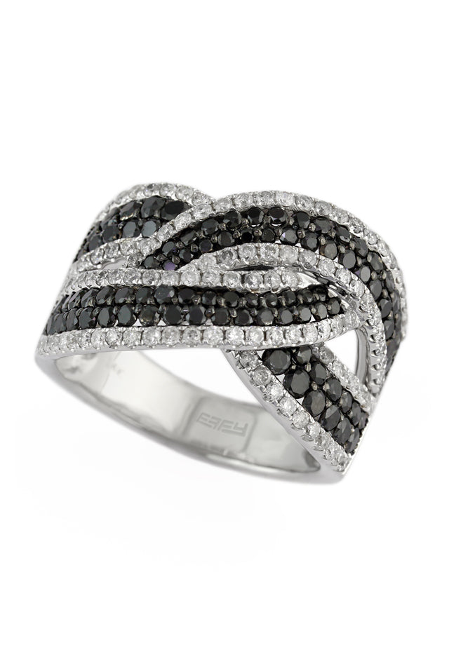 Effy 14K White Gold Black and White Diamond Ring, 2.30 TCW