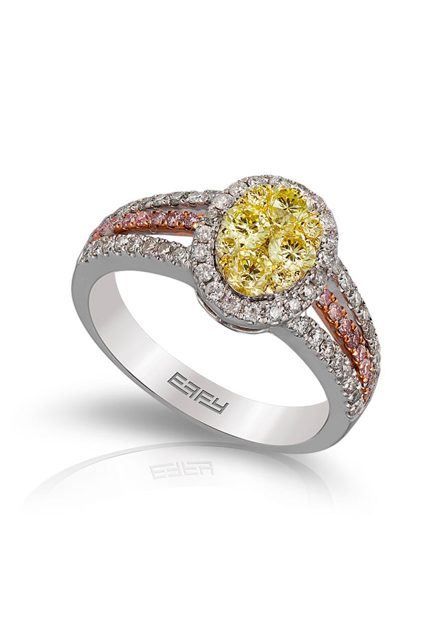 Effy Canare 14K Tri Color Gold Yellow & White Diamond Ring, 1.19 TCW
