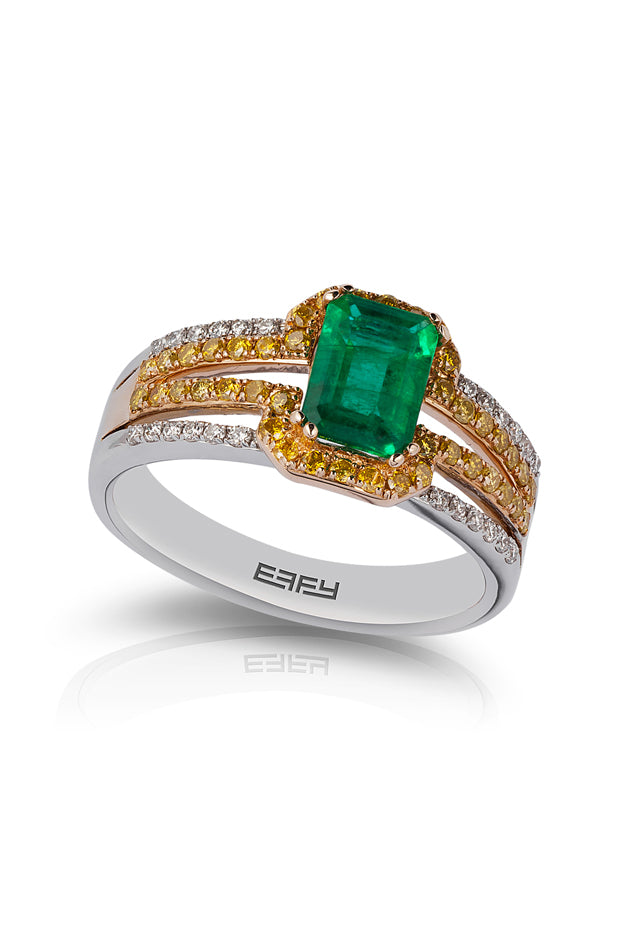 Effy Canare 14K Two-Tone Gold White & Yellow Diamond Emerald Ring, 1.38 TCW