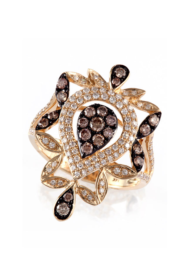 Effy Espresso 14K Yellow Gold Diamond Filigree Ring, .84 TCW