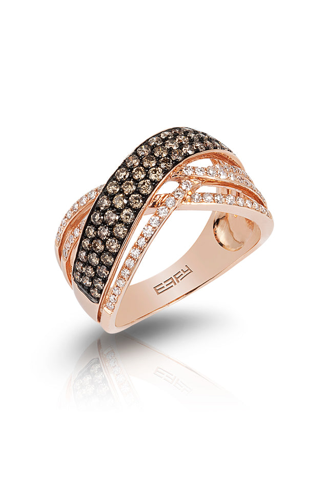 Effy Espresso 14K Rose Gold Cognac & White Diamond Ring, .90 TCW