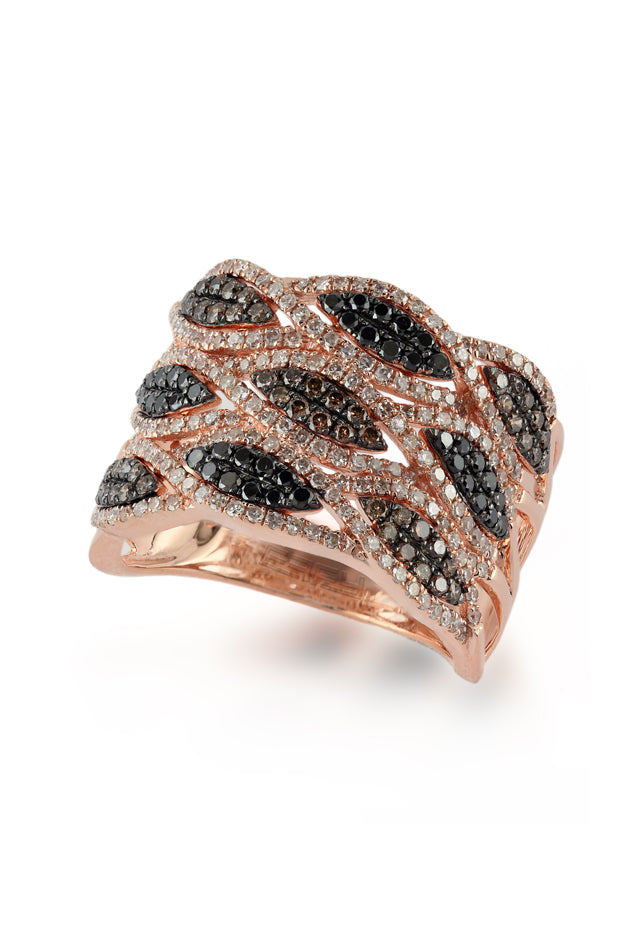 Effy 14K Rose Gold Black, Cognac and White Diamond Ring, 1.11 TCW