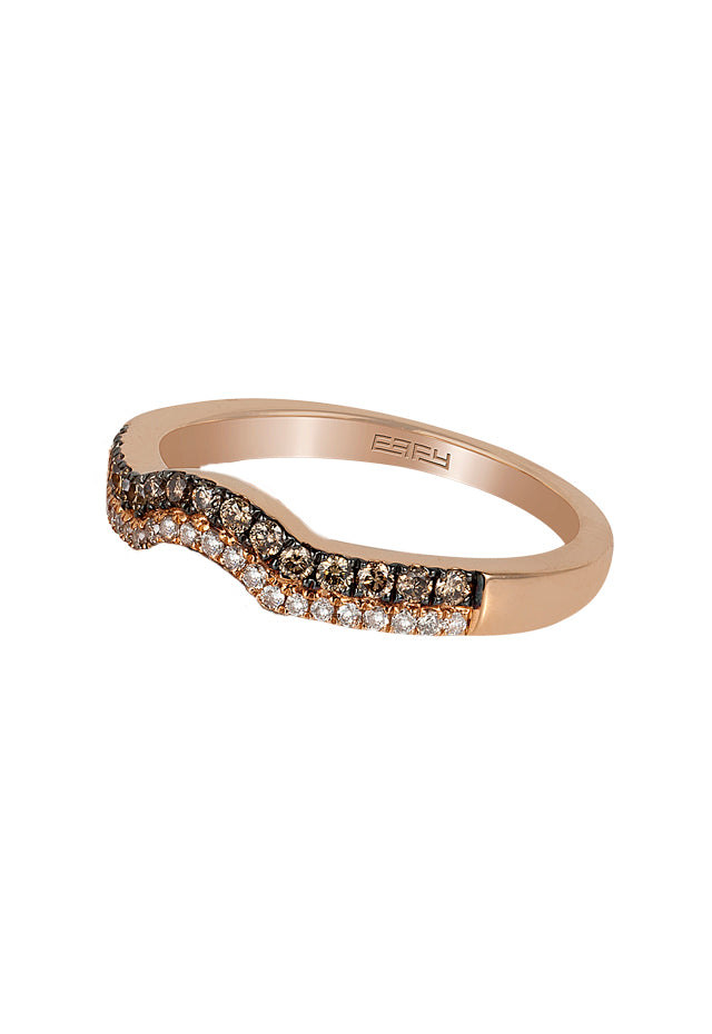 Effy Espresso 14K Rose Gold Cognac and White Diamond Band