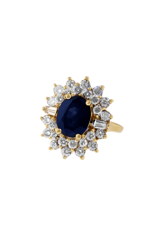 14K Yellow Gold Blue Sapphire & Diamond Ring, 4.46 TCW