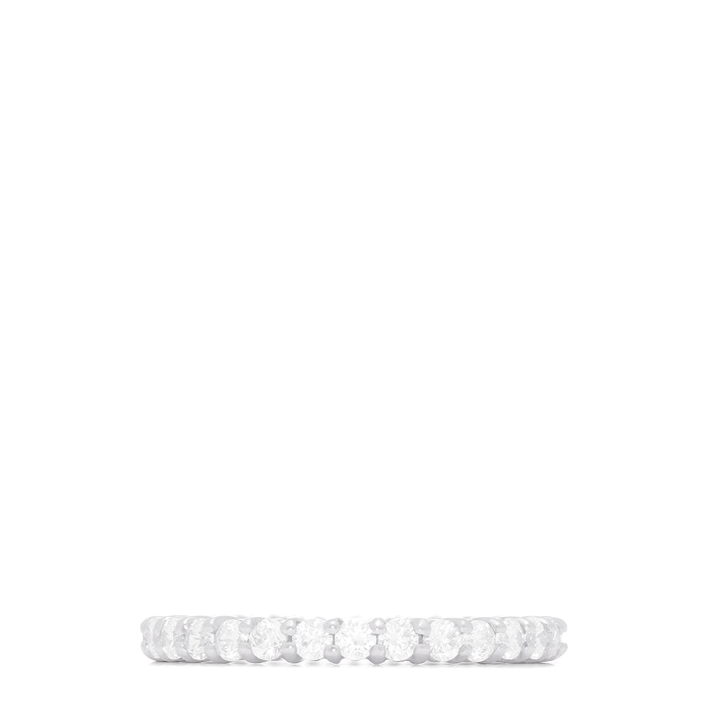 14K White Gold Prong Set Diamond Eternity Band, 1.00 TCW