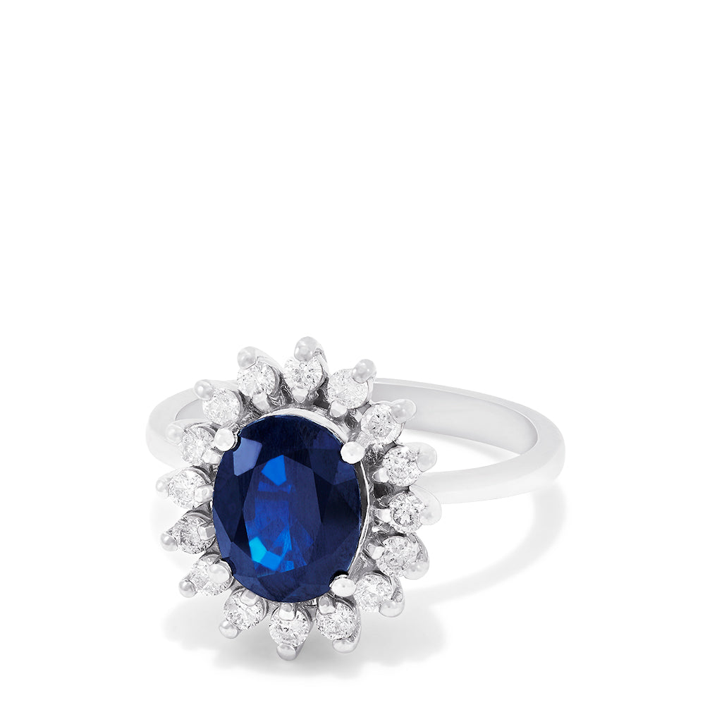 Effy Royalty 14K White Gold Blue Sapphire and Diamond Ring, 2.29 TCW