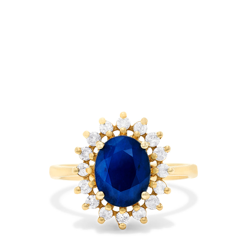 Effy Royalty 14K Yellow Gold Blue Sapphire and Diamond Ring, 2.29 TCW