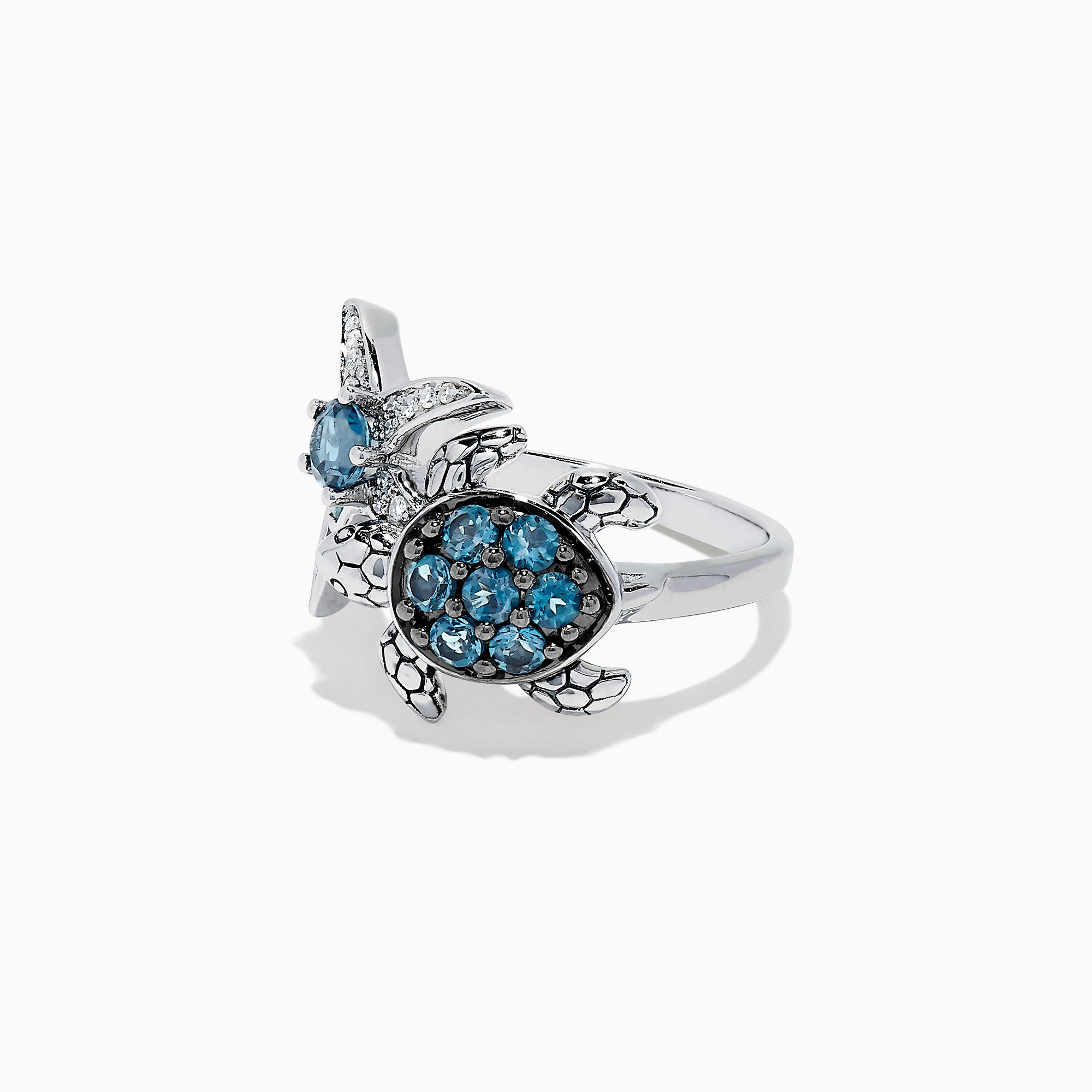 Effy Seaside S. Silver Topaz & Diamond Turtle and Starfish Ring, 1.06 TCW