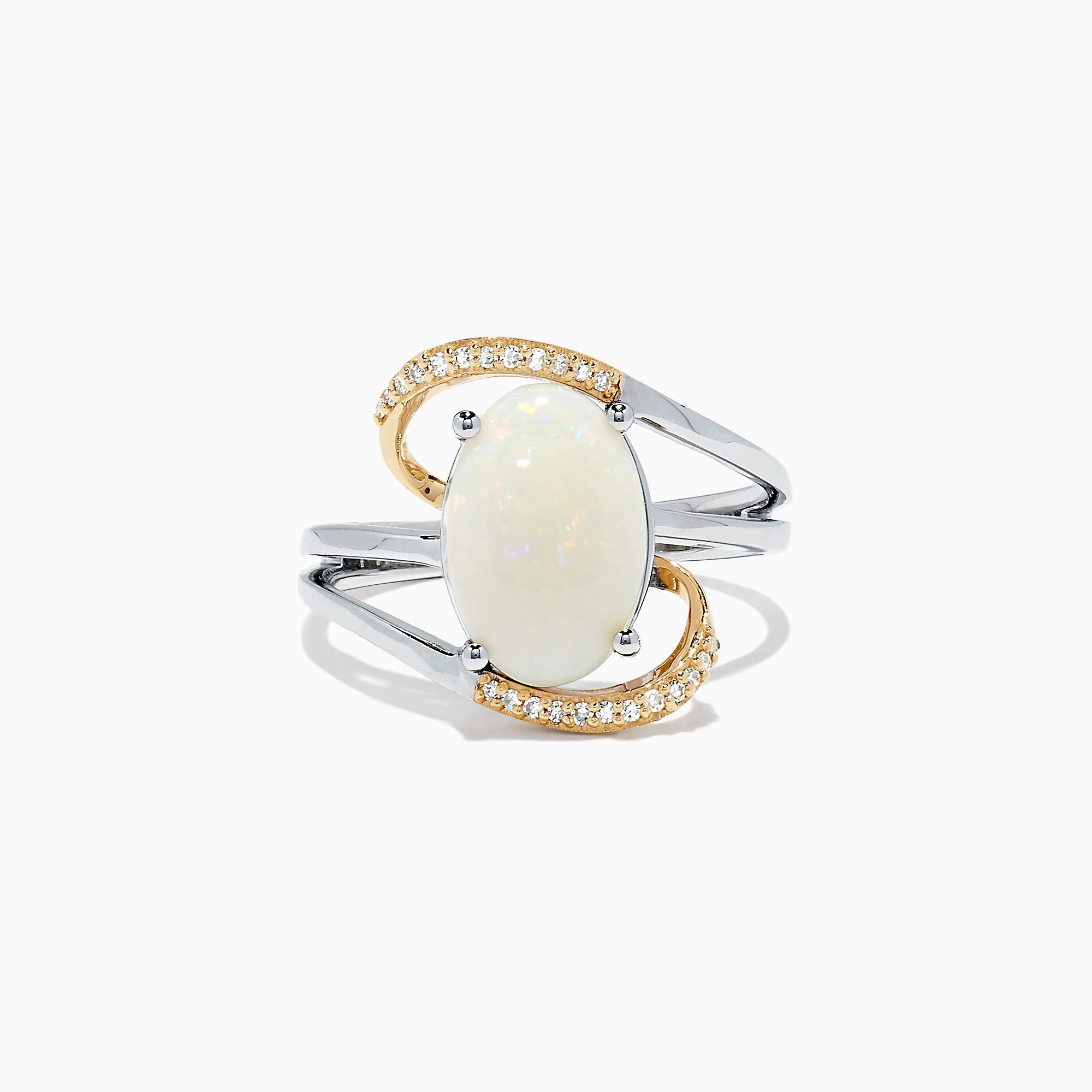 Effy Aurora 14K Two Tone Gold Opal and Diamond Ring, 2.22 TCW