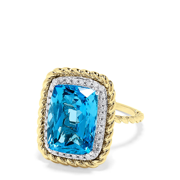 Effy 14K Two Tone Gold Blue Topaz and Diamond Cocktail Ring, 9.20 TCW