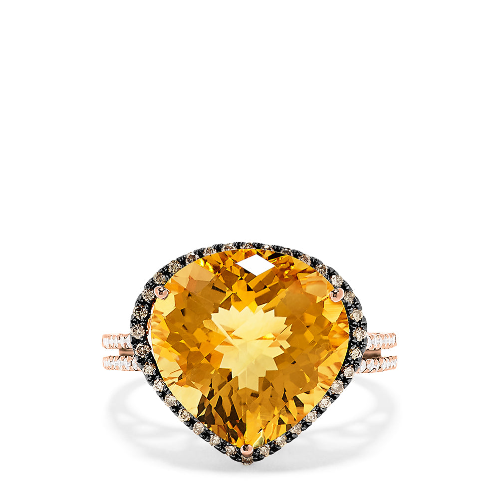 Effy 14K Rose Gold Citrine and Diamond Ring, 9.46 TCW