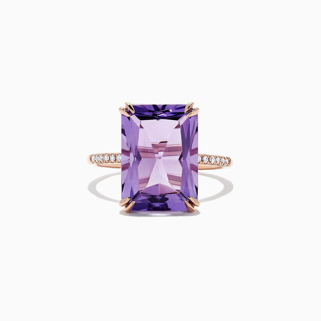 Effy 14K Rose Gold Amethyst and Diamond Ring, 7.26 TCW