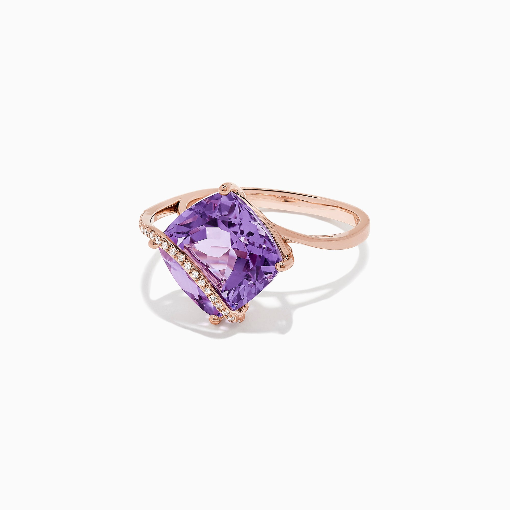 Effy 14K Rose Gold Amethyst and Diamond Ring, 6.33 TCW