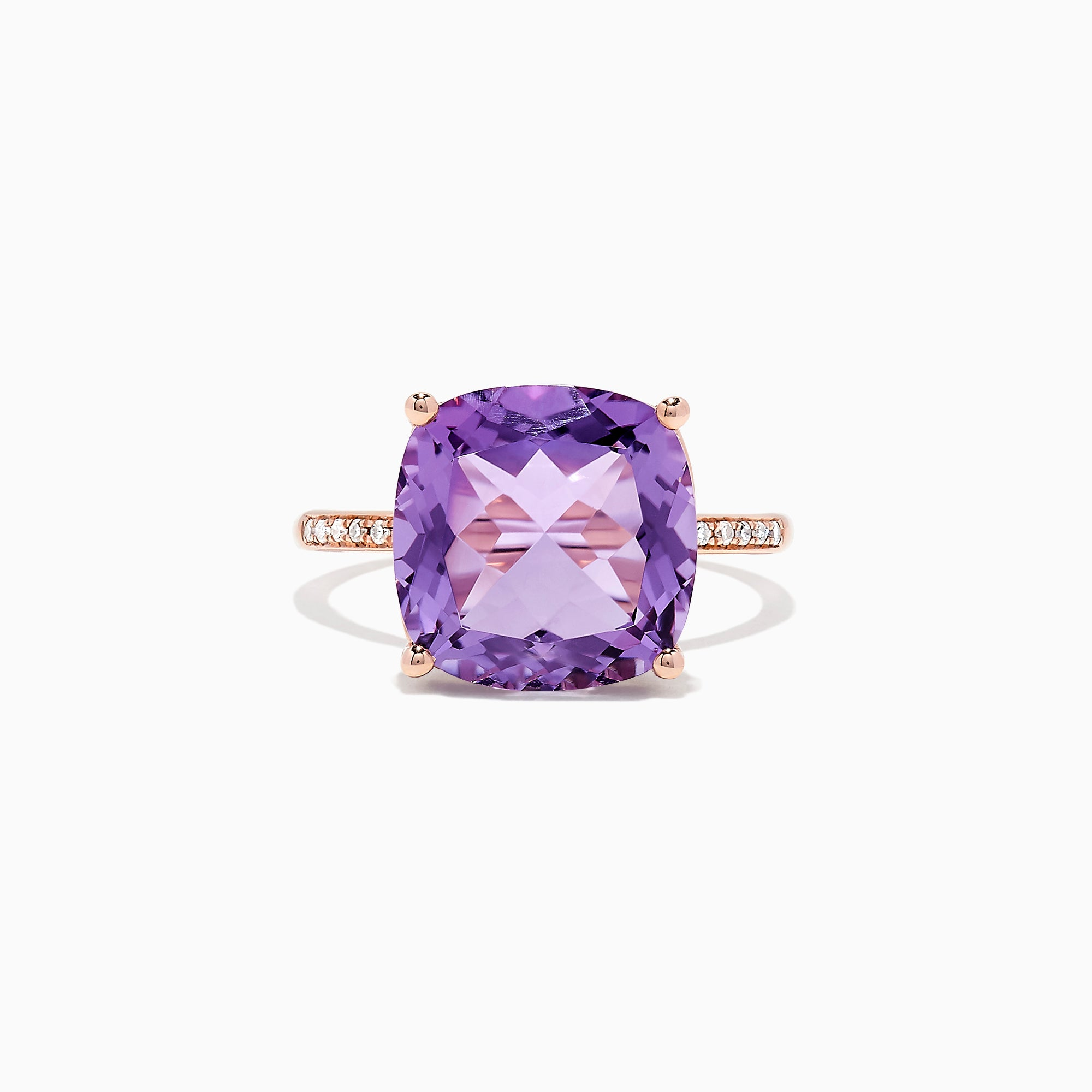 Effy 14K Rose Gold Amethyst and Diamond Ring, 6.65 TCW